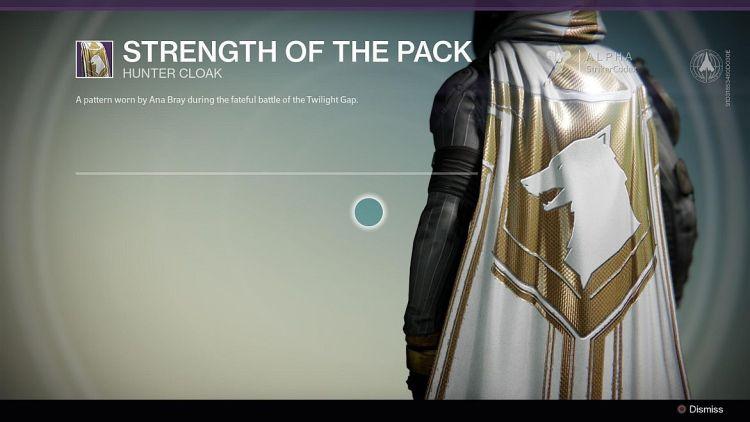 destiny strength of the pack cloak