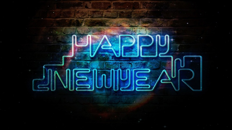 happy new year neon